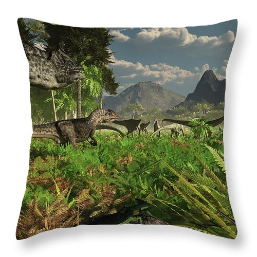 Toughness Throw Pillow featuring the digital art Allosaurus And Diplodocus Dinosaurs by Arthur Dorety/stocktrek Images