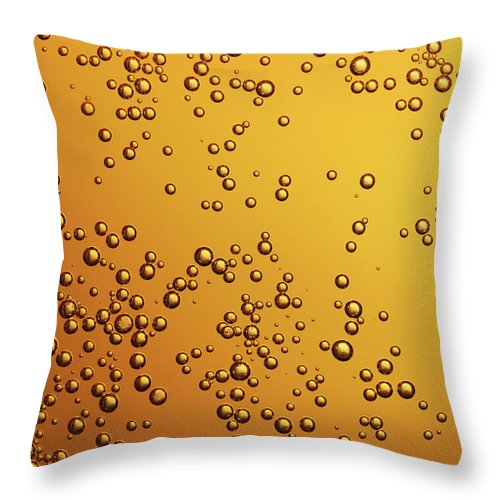 Alcohol Throw Pillow featuring the photograph Amber Colored Carbonated Bubbles by Burwellphotography