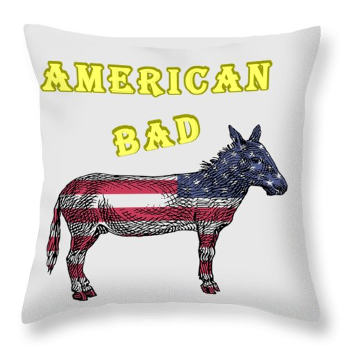 American Throw Pillow featuring the digital art American Bad Ass by John Da Graca