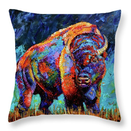 Bison Throw Pillow featuring the painting American Bison by Debra Hurd