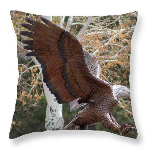 Eagle Throw Pillow featuring the photograph American Eagle and Birch Tree by Colleen Cornelius