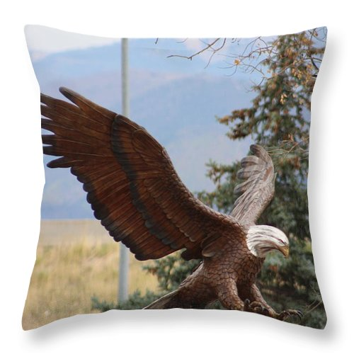 Eagle Throw Pillow featuring the photograph American Eagle and Pine by Colleen Cornelius