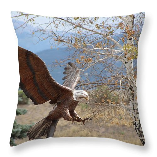 Eagle Throw Pillow featuring the photograph American Eagle in Autumn by Colleen Cornelius