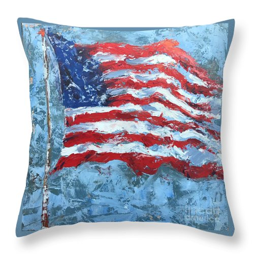 Flag Throw Pillow featuring the painting American Flag by Patricia Caldwell