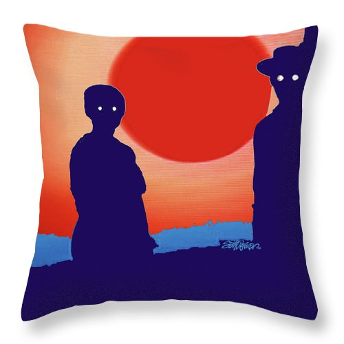 American Gothic-2018 Throw Pillow featuring the mixed media American Gothic-2018 by Seth Weaver