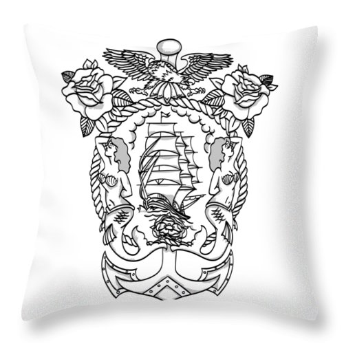 American Traditional Throw Pillow featuring the drawing American Tradicional Nautica by Fernando Trinkenreich