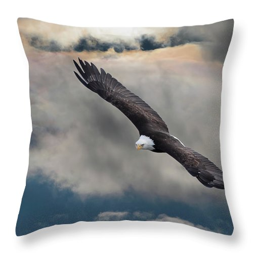 Bird Of Prey Throw Pillow featuring the photograph An Eagle In Flight Rising Above The by Design Pics / Robert Bartow