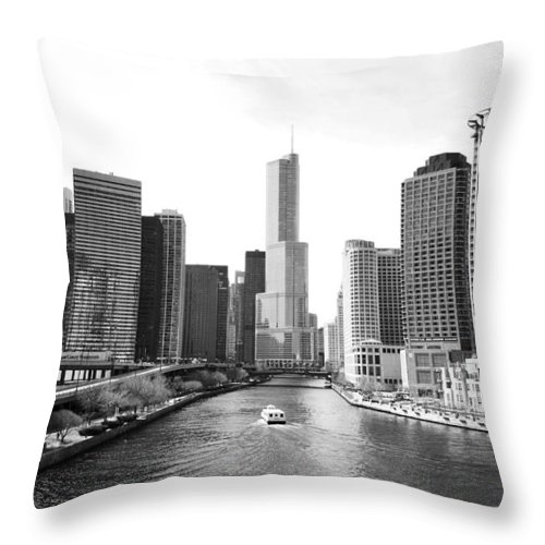 Chicago River Throw Pillow featuring the photograph An Unknown Skyline Along The Chicago by Ricardo Montiel