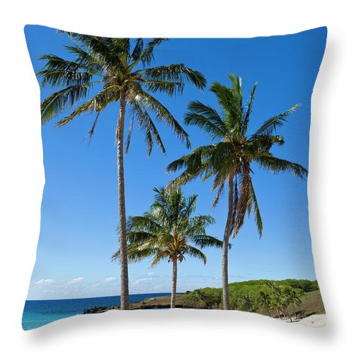 Scenics Throw Pillow featuring the photograph Anakena Beach, The Islands White Sand by Gavin Hellier / Robertharding