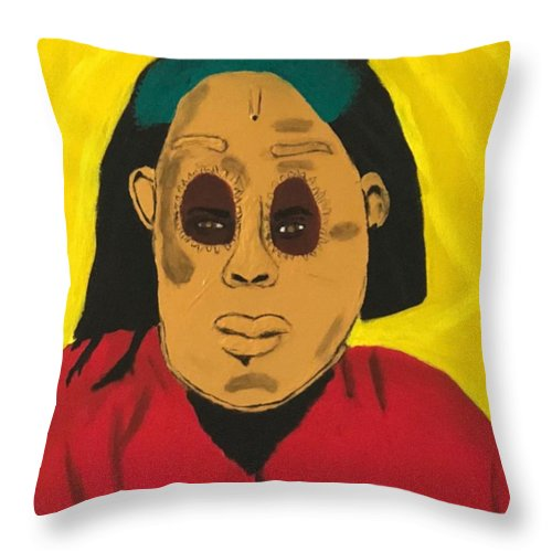 African Throw Pillow featuring the painting Ancestral Spirit by Sonye Locksmith