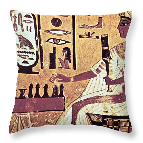 Human Representation Throw Pillow featuring the photograph Ancient Egyptian Queen Nefetari Playing by Photos.com
