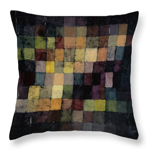 Paul Klee Throw Pillow featuring the painting Ancient Sound by Paul Klee