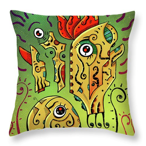 Totoro Throw Pillow featuring the digital art Ancient Spirit by Sotuland Art