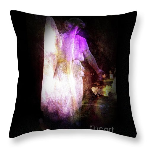 Angel Throw Pillow featuring the photograph Angel In Black by Elaine MacKenzie