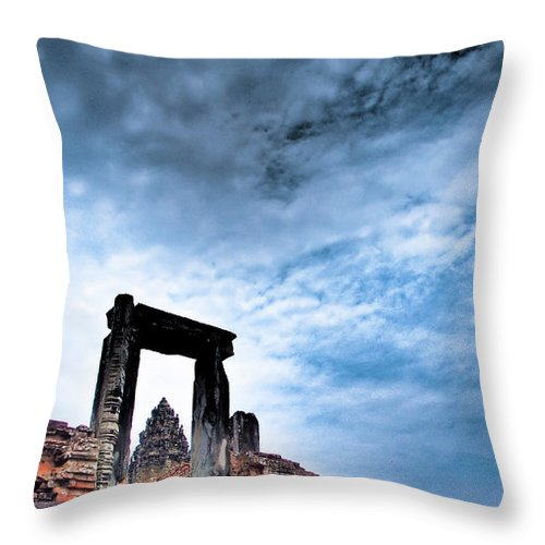 Cambodian Culture Throw Pillow featuring the photograph Angkor by Cjfan