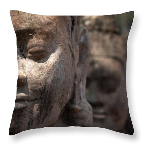 Art Throw Pillow featuring the photograph Angkor Warriors by Romulo Rejon
