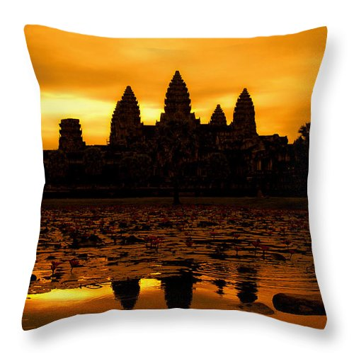 Cambodian Culture Throw Pillow featuring the photograph Angkor Wat At Sunrise by David Lazar