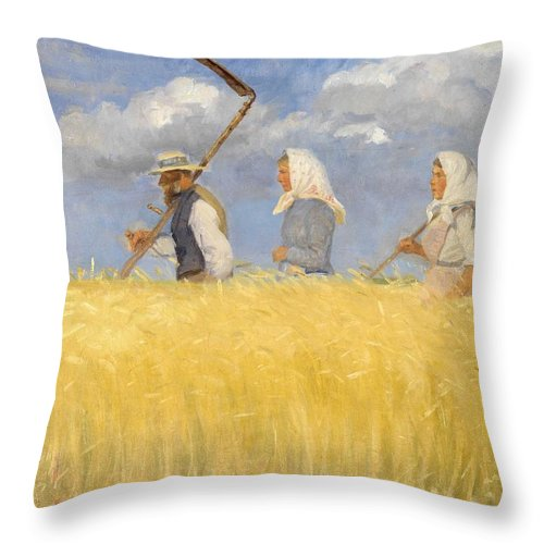 Harvest Throw Pillow featuring the painting Anna Ancher - Harvesters by Celestial Images