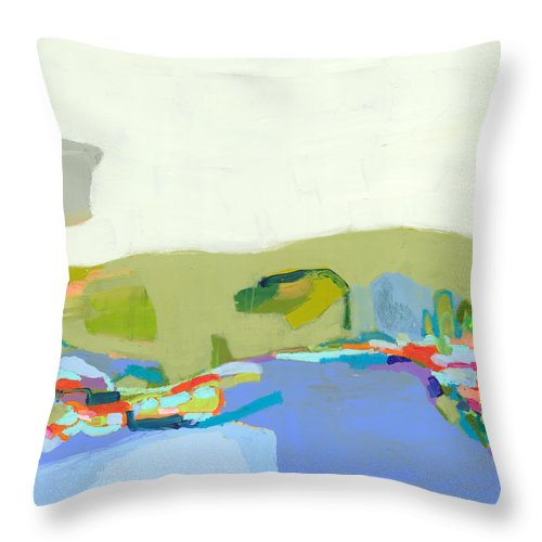 Abstract Throw Pillow featuring the painting Another Place by Claire Desjardins