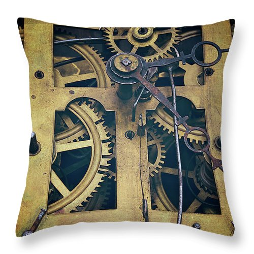 Gear Throw Pillow featuring the photograph Antique Clock Gears, Cog And Parts by Melissa Ross