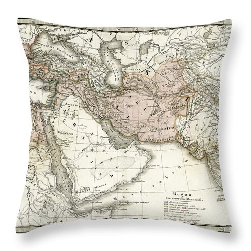 Arabia Throw Pillow featuring the digital art Antique Map Of Alexander The Greats by Duncan1890