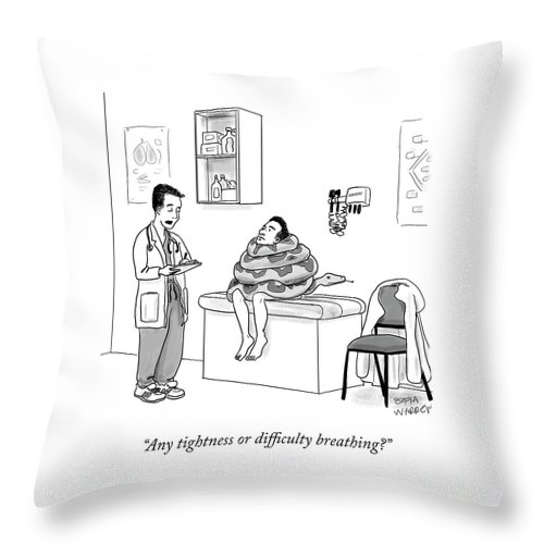 Any Tightness Or Difficulty Breathing? Throw Pillow featuring the drawing Any Tightness? by Sofia Warren