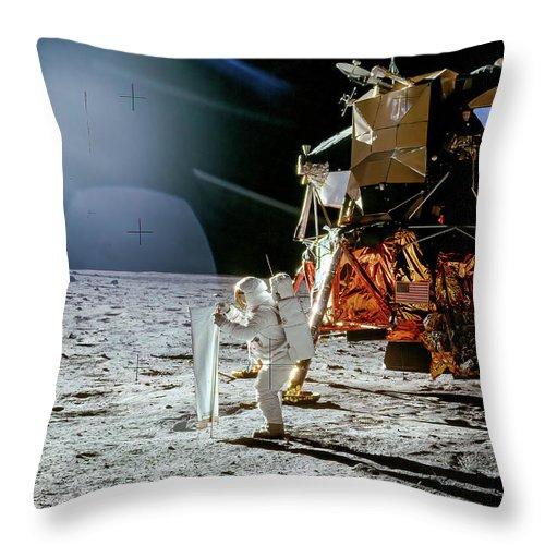 Ed Throw Pillow featuring the photograph Apollo 11 - Buzz Aldrin Deploying The Swc by Nasa