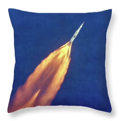 Saturn V Throw Pillow featuring the photograph Apollo 11 Launch - High Altitude View Color by Nasa
