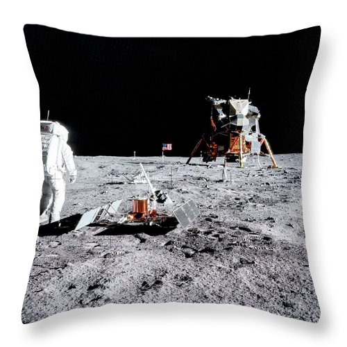 Ed Throw Pillow featuring the photograph Apollo 11 - Tranquility Base by Nasa