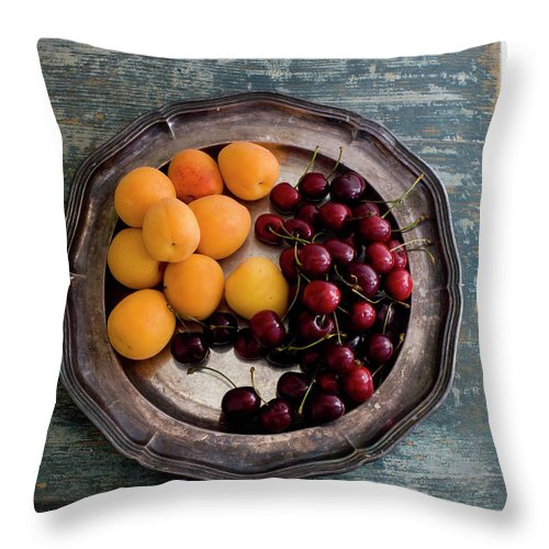 Tranquility Throw Pillow featuring the photograph Apricots And Cherries On Silver Tray by Bjurling, Hans