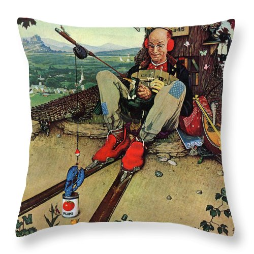April Fools Throw Pillow featuring the drawing april Fool, 1945 by Norman Rockwell