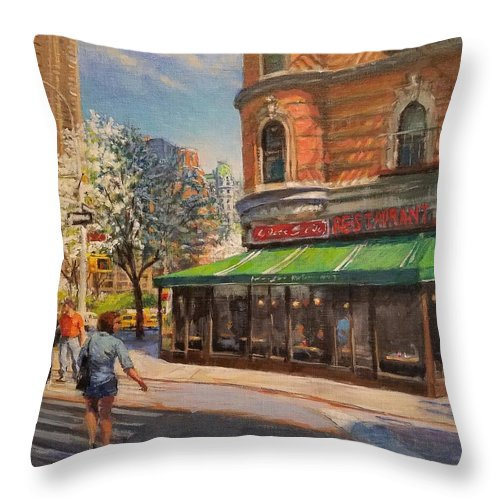 Urban Landscape Paintings Throw Pillow featuring the painting April Morning On Broadway by Peter Salwen