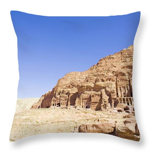 Scenics Throw Pillow featuring the photograph Archaeological Remains Of Petra by Gallo Images