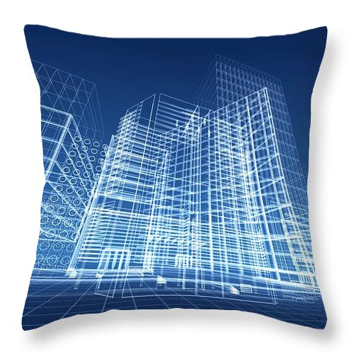 Plan Throw Pillow featuring the photograph Architectural Blueprint Designs For by Dinn