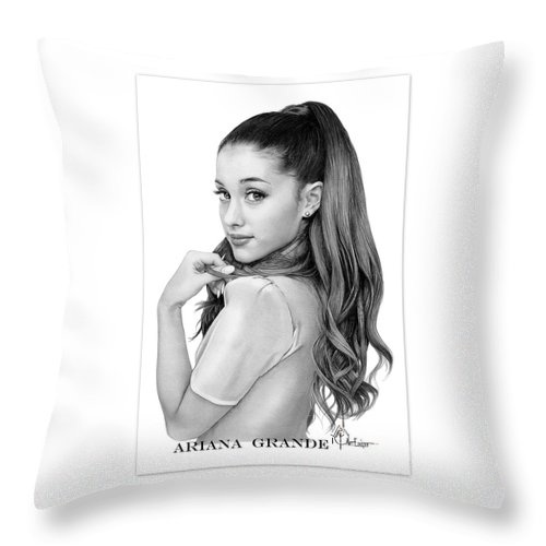 Ariana Grande Throw Pillow featuring the drawing Ariana Grande drawing by Murphy Elliott