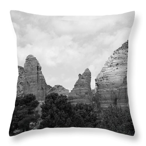 Scenics Throw Pillow featuring the photograph Arizona Mountain Red Rock Monochrome by Sassy1902