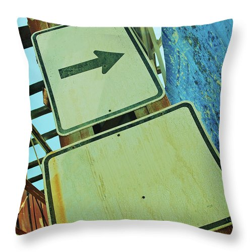 Aging Process Throw Pillow featuring the photograph Arrow Sign by Naphtalina