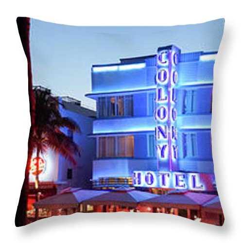 Panoramic Throw Pillow featuring the photograph Art Deco Hotels On Ocean Drive At Dusk by Buena Vista Images