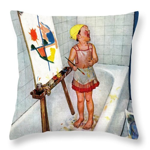 Bathtubs Throw Pillow featuring the drawing Artist In The Bathtub by Jack Welch