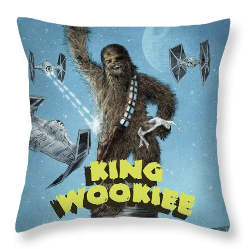 King Kong Throw Pillow featuring the drawing King Wookiee by Eric Fan