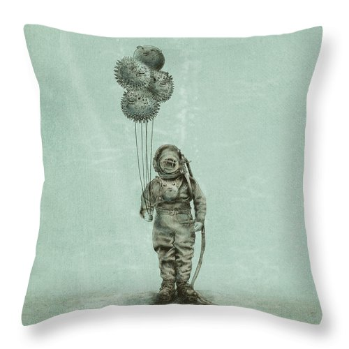 Ocean Throw Pillow featuring the drawing Balloon Fish by Eric Fan