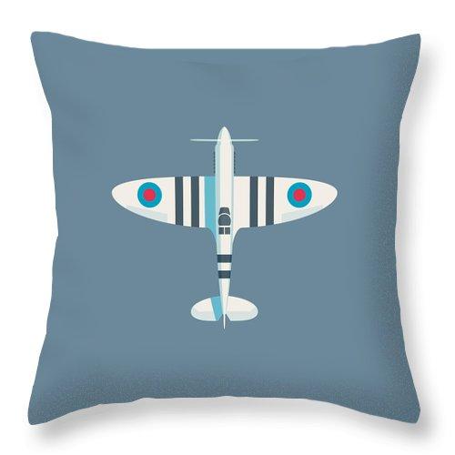 Spitfire Throw Pillow featuring the digital art Supermarine Spitfire Fighter Aircraft - Stripe Slate by Ivan Krpan