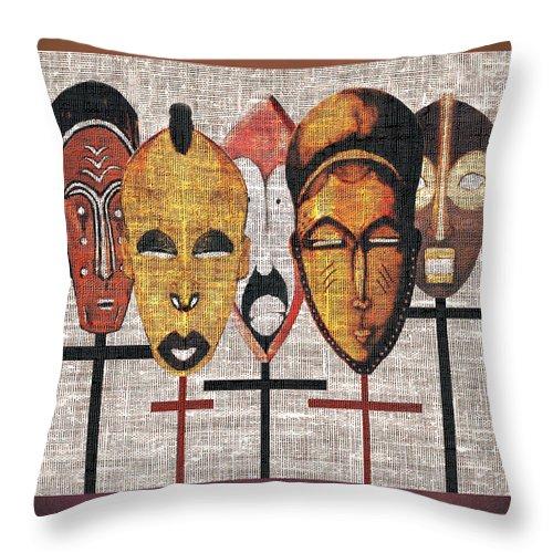 African Masks Throw Pillow featuring the digital art Kabila Masks by Regina Wyatt