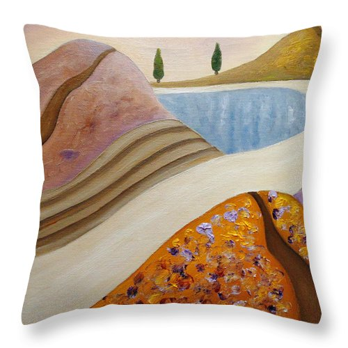 Cypress Art Throw Pillow featuring the painting Autumn Spoor by Angeles M Pomata