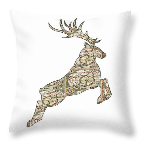 Reindeer Throw Pillow featuring the digital art Reindeer - Holiday - North Pole by R C Rawxe Clemens
