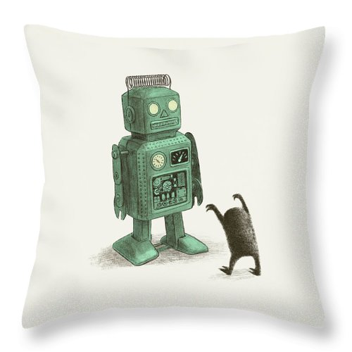 Vintage Throw Pillow featuring the drawing Robot Vs Alien by Eric Fan