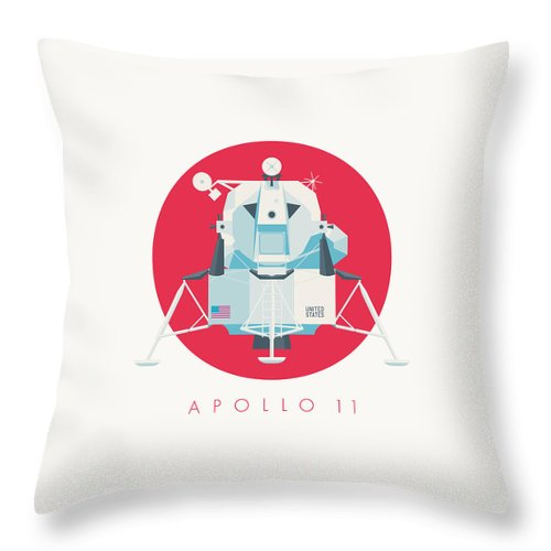 Apollo 11 Throw Pillow featuring the digital art Apollo Lunar Module Lander Minimal - Text Crimson by Ivan Krpan