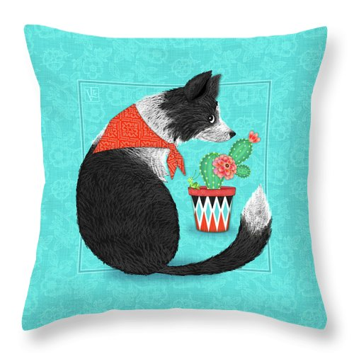 Border Collie Throw Pillow featuring the digital art C Is For Collie by Valerie Drake Lesiak