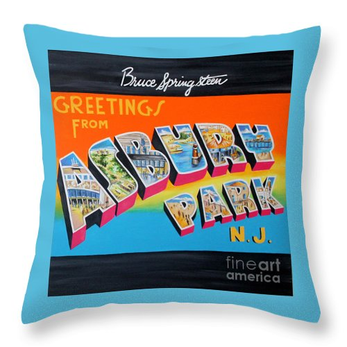 Asbury Park Throw Pillow featuring the painting Asbury Park Bruce Springsteen by Amy Belonio