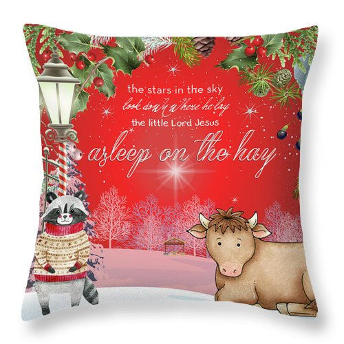 Holiday Throw Pillow featuring the digital art Asleep On The Hay by Claire Tingen